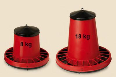 Futterautomat für Hühner aus Kunstsoff 8 kg / 18 kg